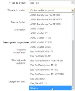 Asus Nexus 7 - Demande de support technique