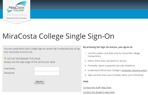 Single Sign-On MiraCosta College