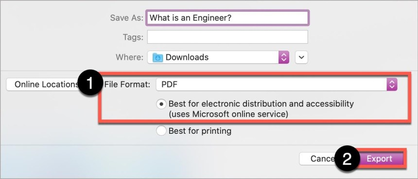 """In the Save As window on the Mac Word, select PDF, ensure button, """"Best for…"""" is checked, then select the Export button."""