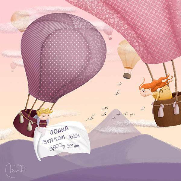 Cuadro nacimiento globo rosa