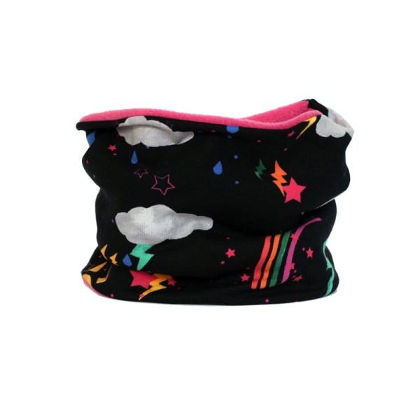 Cuello polar de divertido estampado con rayos y truenos en negro y rosa fucsia