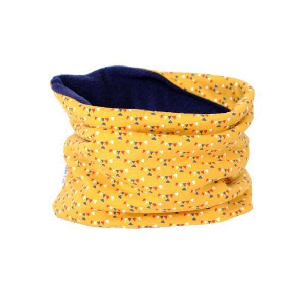 Cuello polar tipo braga, ideal para proteger del frío a niños y bebés. Con estampado mini de guirnaldas sobre amarillo
