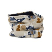Cuello polar de zorros en marrón, azul sobre gris claro