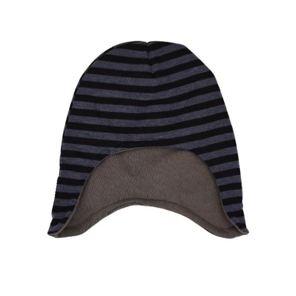 Gorro infantil de invierno con estampado de rayas en gris-azulado y negro.