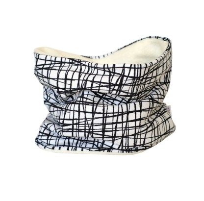 Cuello polar tipo braga de rayas en blanco y negro, protege del frío a los niños en invierno