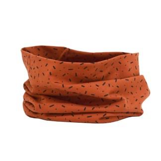 Cuello de punto de entretiempo, de estampado confeti rojo tierra
