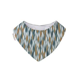 Babero tipo bandana, con tejido absorbente y bonito estampado en color azul petrol y aires retro