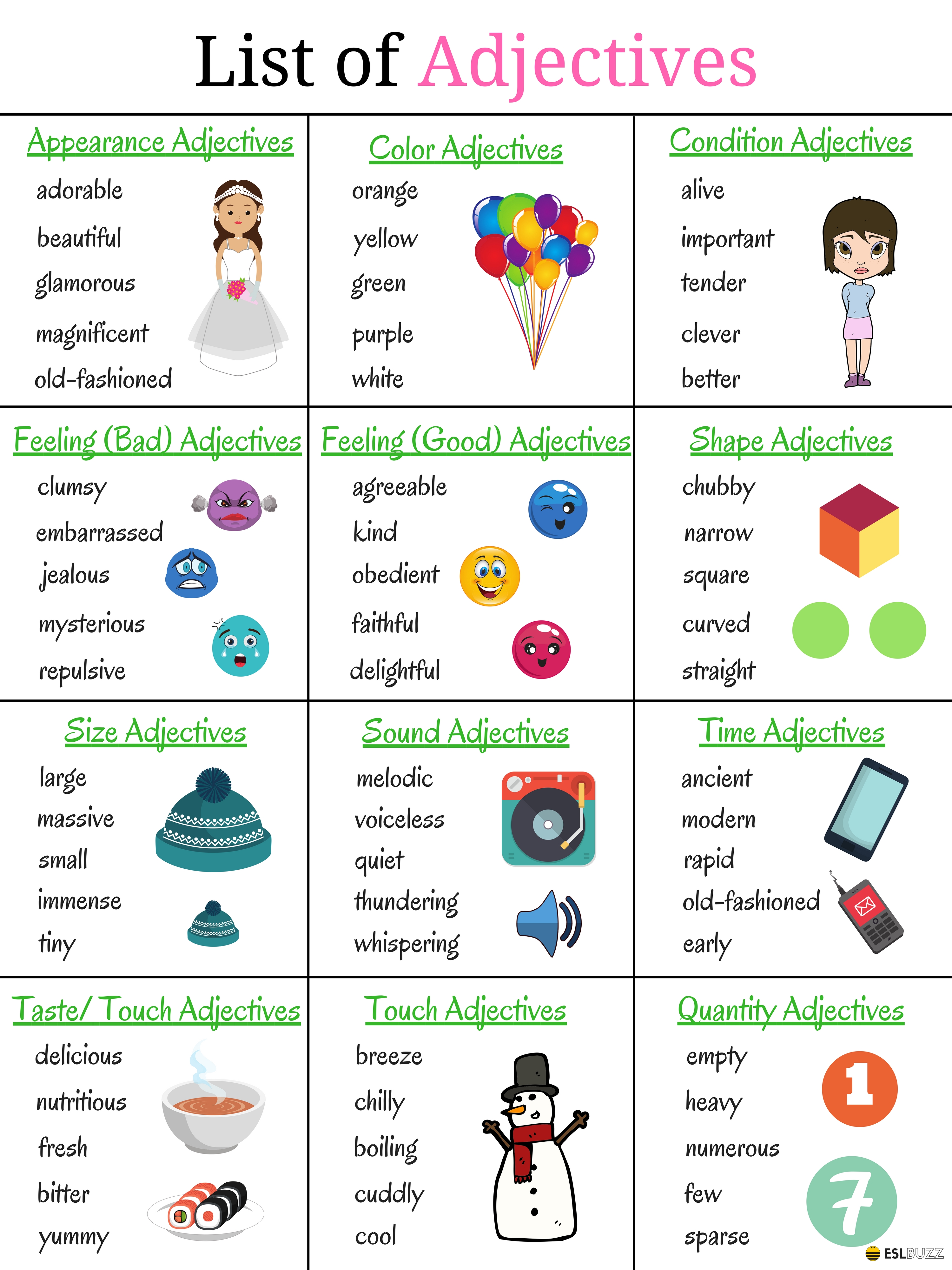 List Of Adjectives Common Adjectives In English
