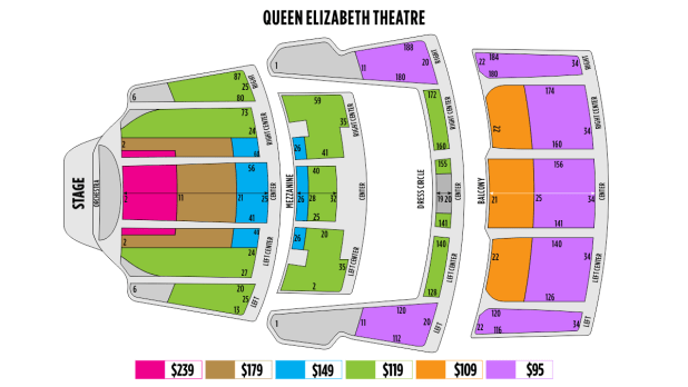 queen elizabeth theatre seating chart dress circle. Black Bedroom Furniture Sets. Home Design Ideas