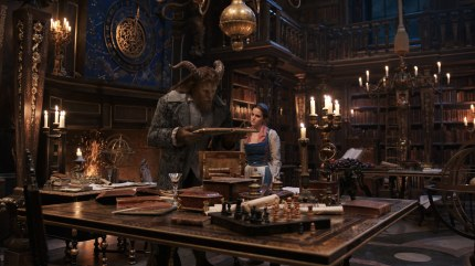 The Beast and Belle in the grand library.