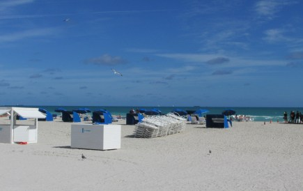 Just another day at South Beach- chairs stacked, ready for use