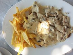 Beautiful Alice - Schnitzel with Mushroom White Sauce and Fries
