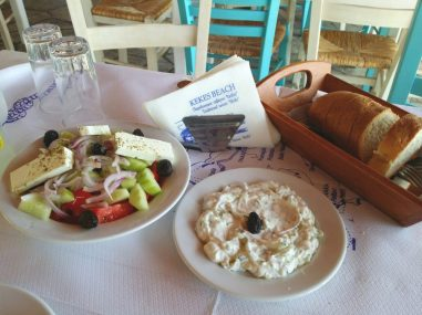 Skidia Tavern - Greek Salad, Tzatziki and Grilled Bread