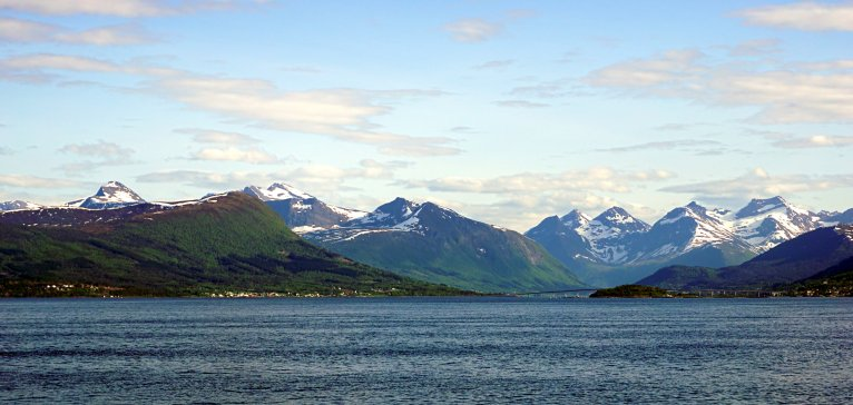 View over Vestnes from the ferry