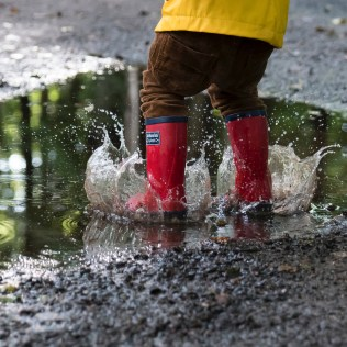 wellies in puddle