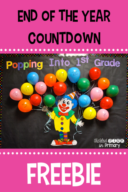 end of the year countdown balloon popping bulletin board with 25 free activities #free #bulletinboard #endoftheyear #summercountdown