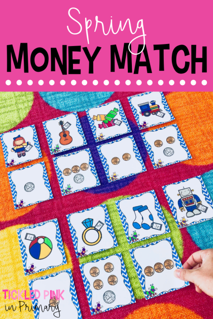 Add this money activity to your Kindergarten spring centers for math! Students can match up the pictures to the coins or use real money. #kindergarten #math #money #mathcenters #springcenters
