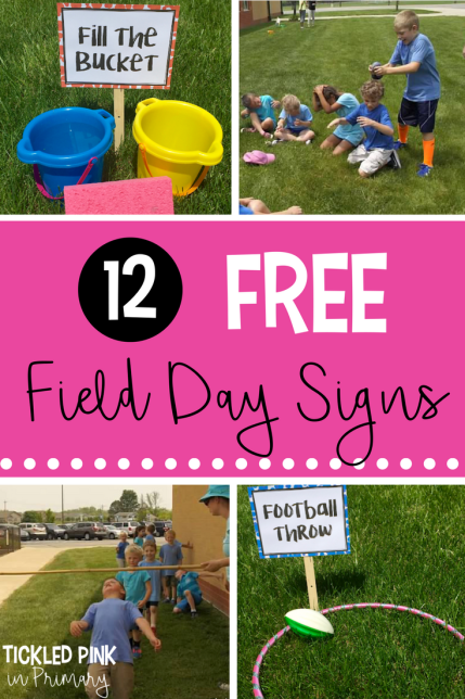 12 FREE field day signs along with ideas for activities to do to entertain your students for the end of the year.