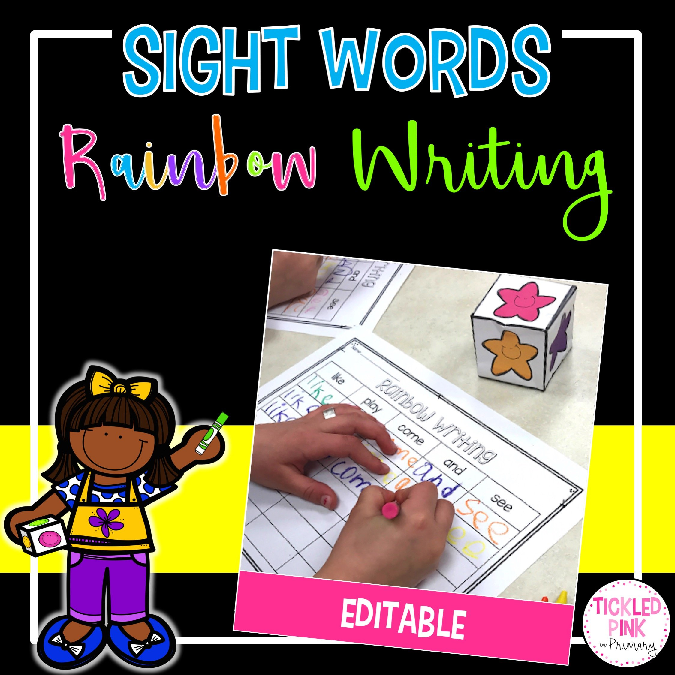 Editable Sight Words Rainbow Writing Tickled Pink In Primary