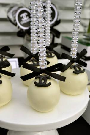 Chanel party themed cake pops
