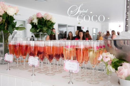 Pink kitchen tea champagne