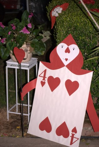Red hearts card man alice in wonderland party