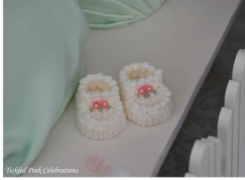 Enchanted Garden Baby Shower dessert buffet-cake-icing booties