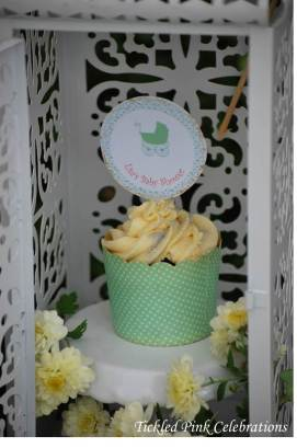 Enchanted Garden Baby Shower dessert buffet-lantern with cupcake