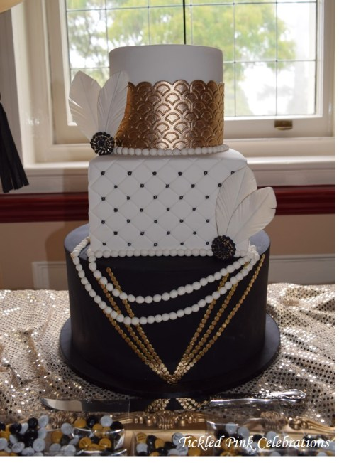 Great Gatsby 1920s party wedding dessert buffet cake