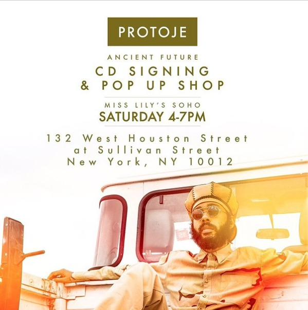 Album signing and pop-up shop flyer