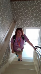 The Author in the stairwell of the Stanton home