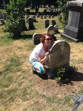 The author at Susan B. Anthony's grave