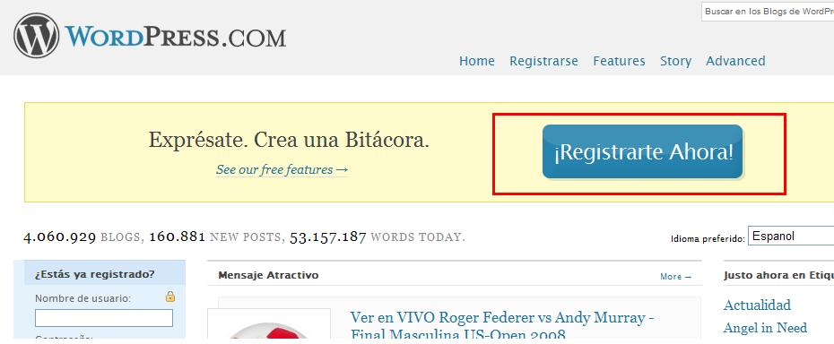 Registro del blog