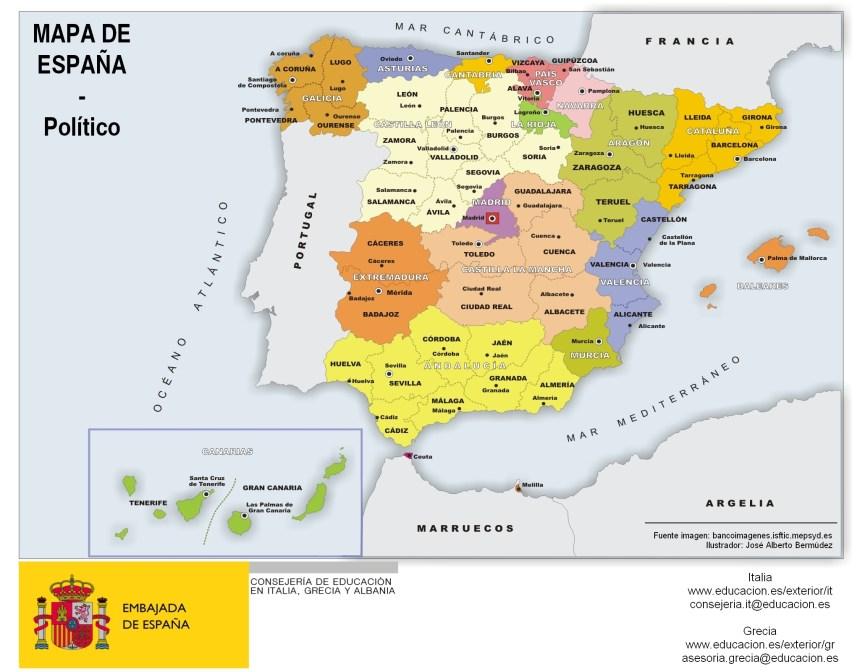 Mapa de España (por comunidades y provincias)