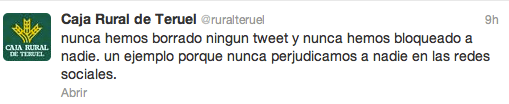 Tweet de Caja Rural de Teruel