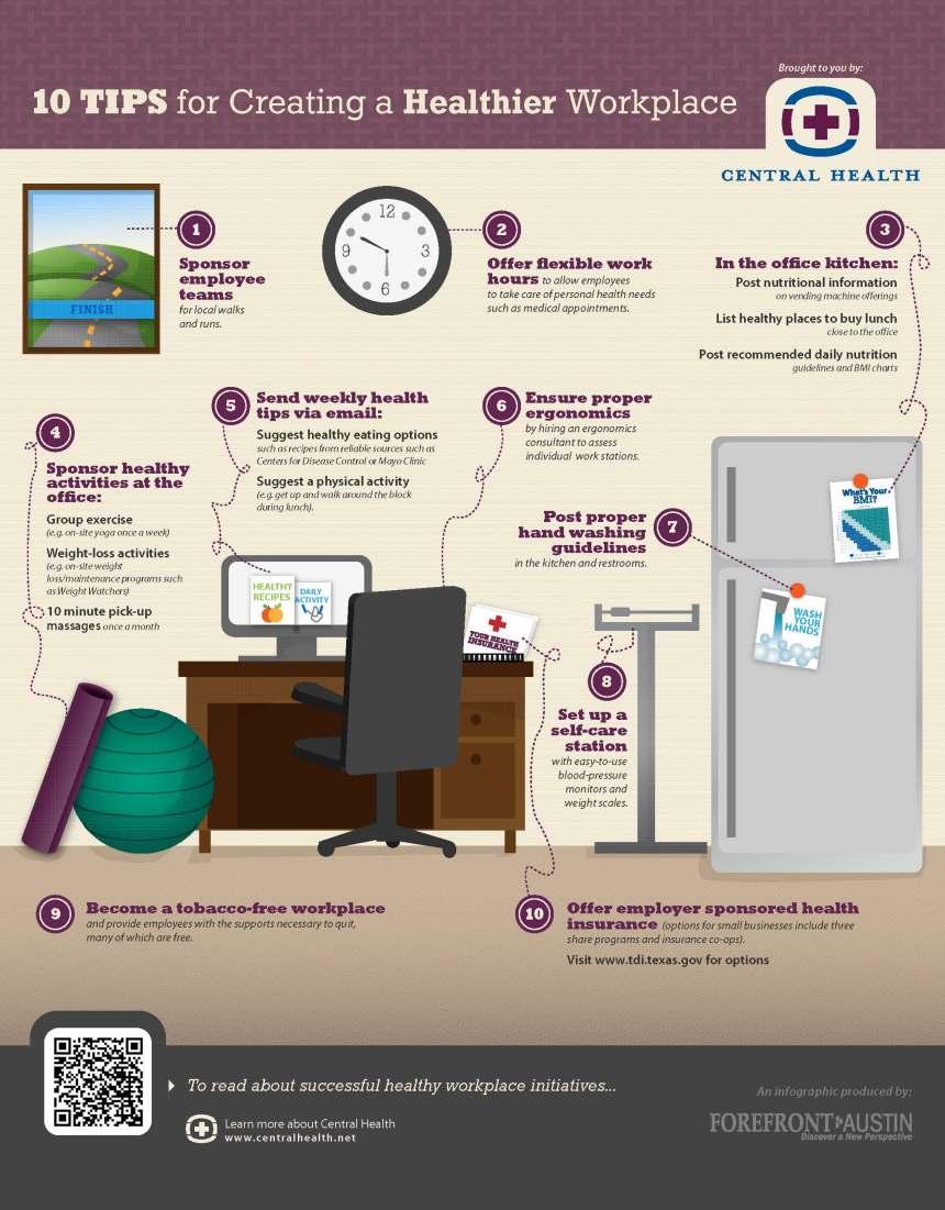 10 consejos para un lugar de trabajo saludable