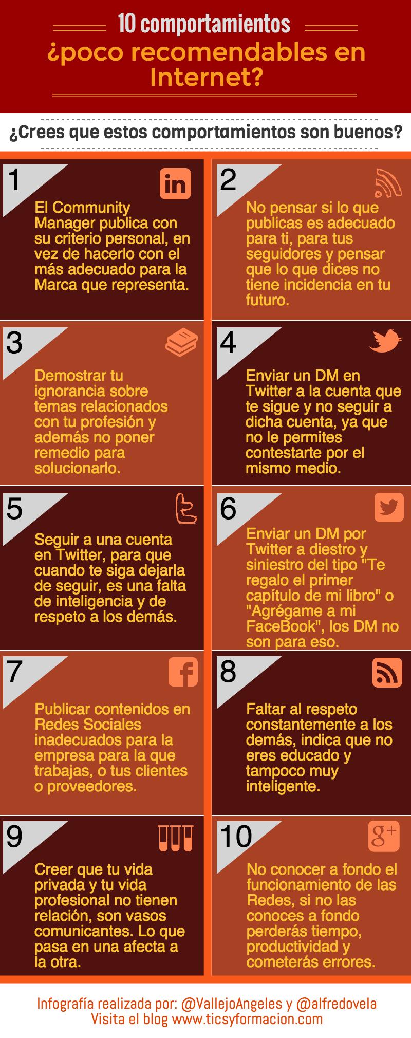 10 comportamientos poco recomendables en Redes Sociales
