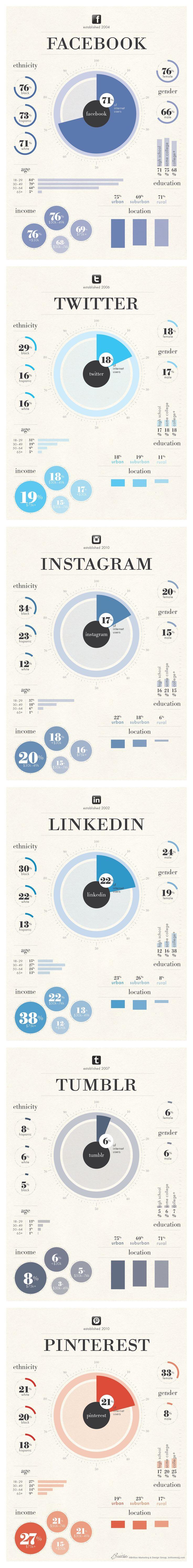 Demografía de las principales Redes Sociales