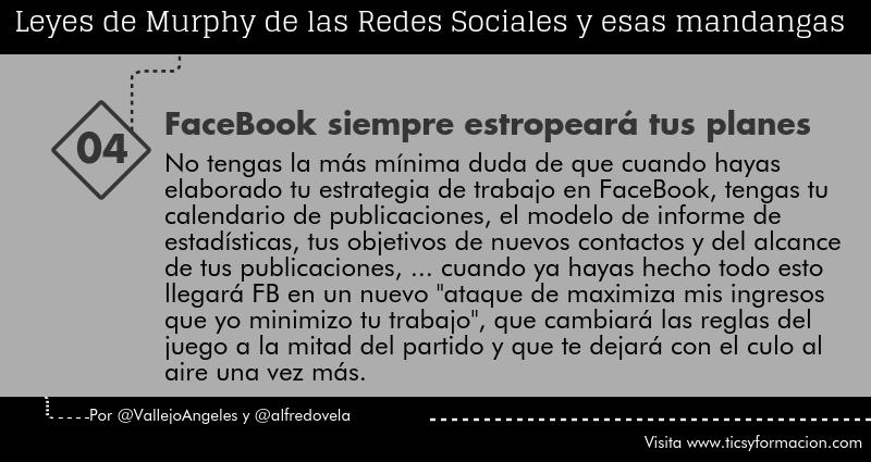 Leyes de Murphy de las Redes Sociales (04): FaceBook siempre estropeará tus planes