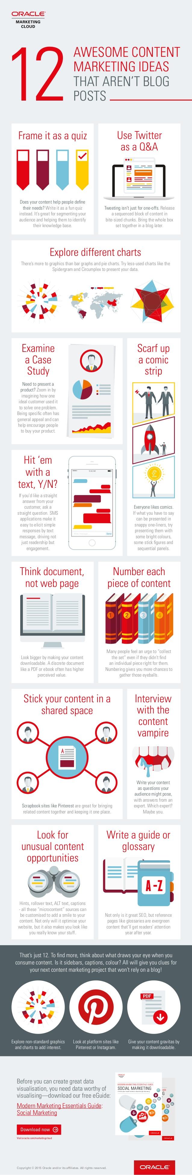 12 ideas de marketing de contenido que no requieren blog