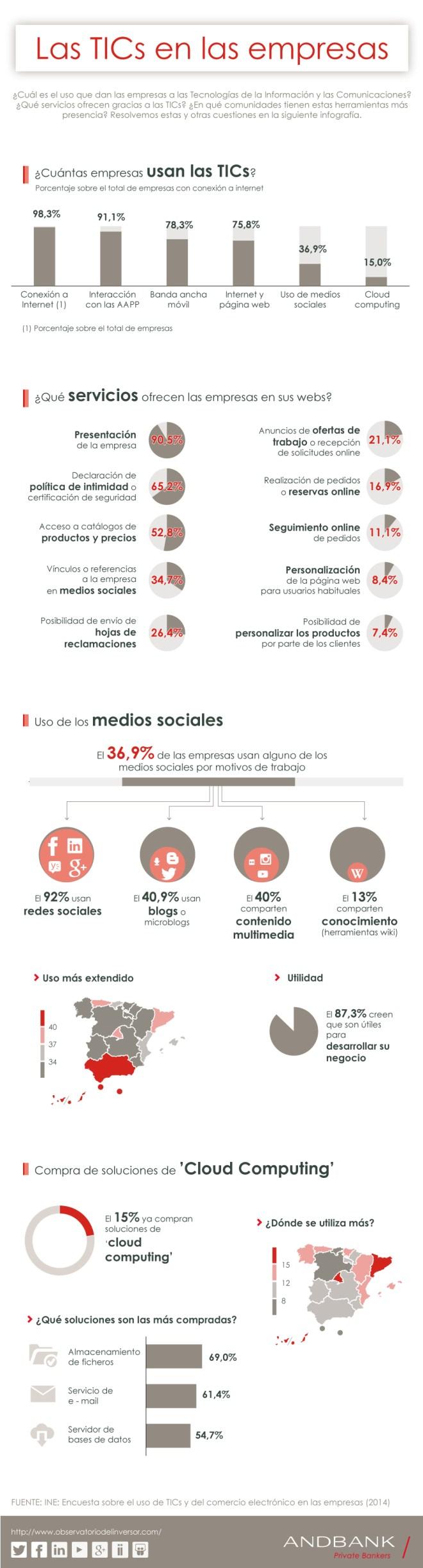 Cómo usan las TICs las empresas en España