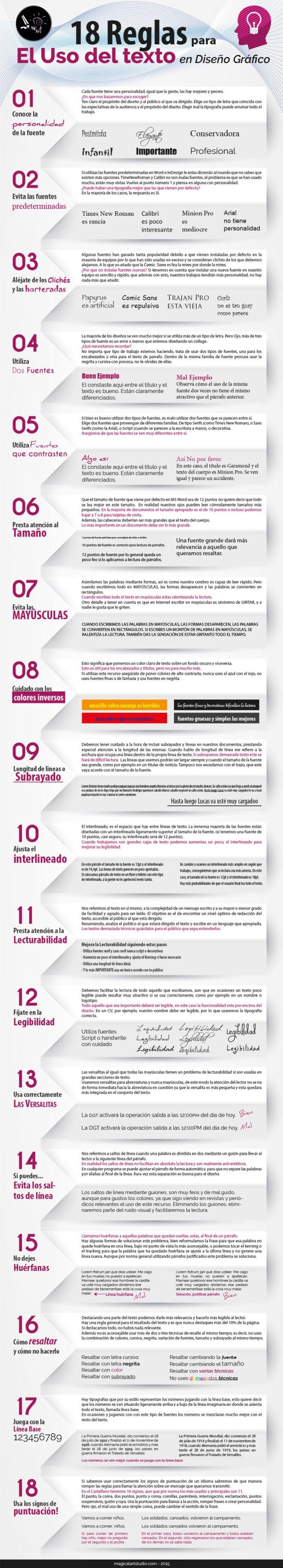 18 reglas para el uso de Texto en Diseño Gráfico