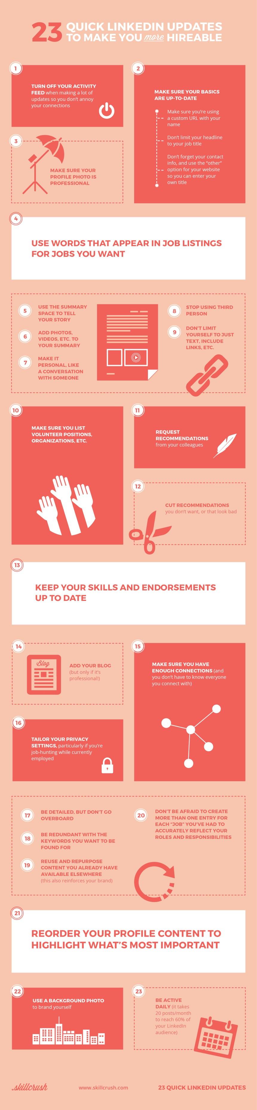 23 actualizaciones que debes hacer en LinkedIn para que te contraten ya
