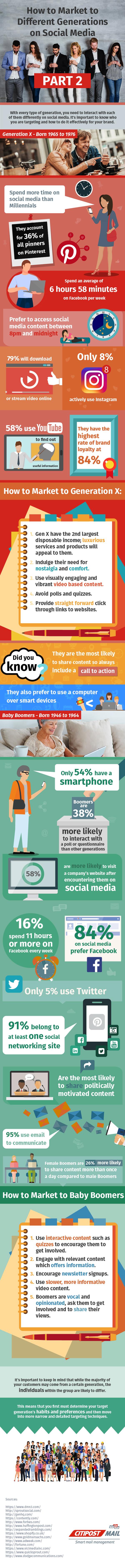 Generación X vs Baby Boomers en Redes Sociales #infografia #infographic #socialmedia