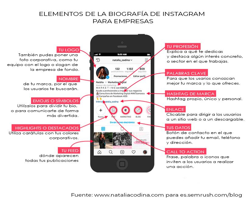Elementos de la BIO de una empresa en Instagram