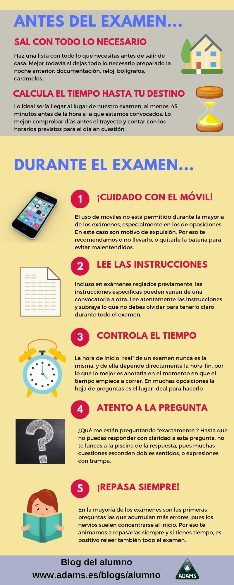 Consejos para preparar los exámenes