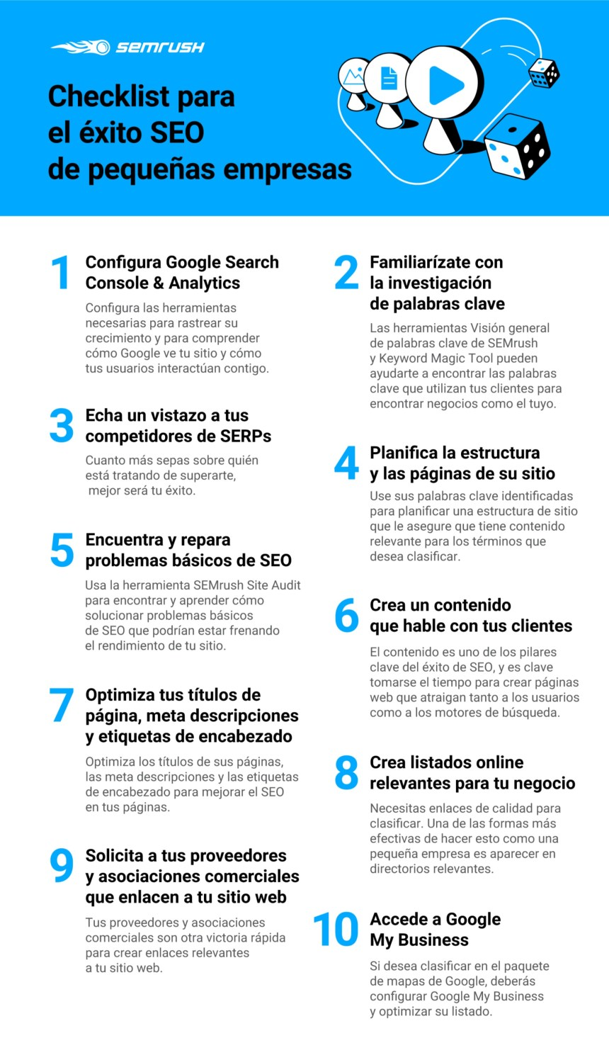 Checklist para el éxito SEO de pequeñas empresas