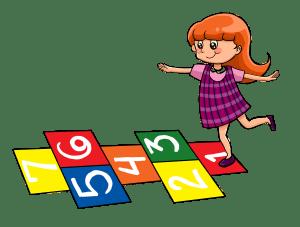 Little Girl Playing Hopscotch @ TicTacTeach.com