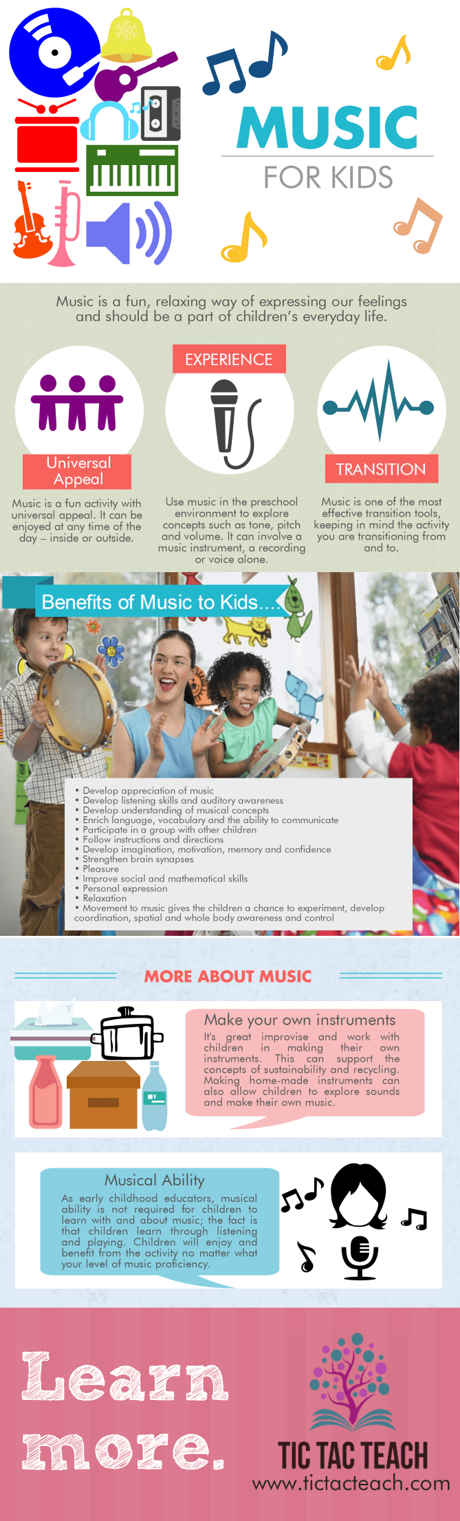 TicTacTeach Music for kids infographic