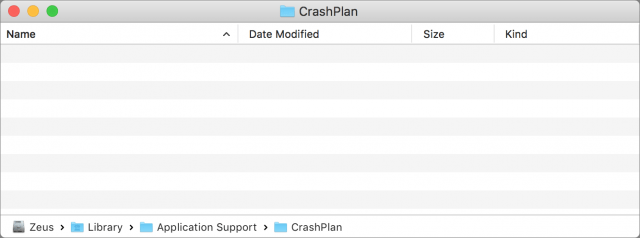 CrashPlan folder emptied of all files